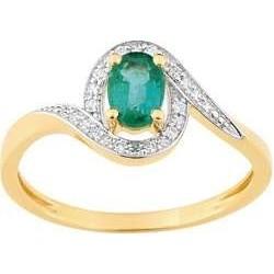 Bague Or Jaune Emeraude et Diamants