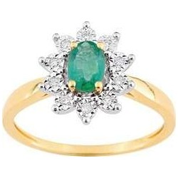 Bague Or Jaune Emeraude et Diamants